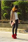 Red-boots-giordano-jeans-black-topshop-hat-camel-vintage-blazer