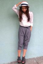 white vintage top - gray soiree pants - black Parisian shoes - white SM hat