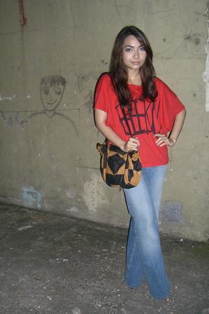 Topshop shirt - topshop wide-leg jeans - thrifted purse
