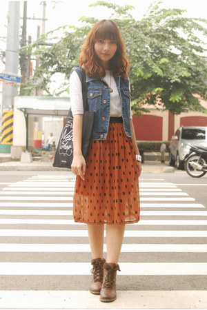burnt orange skirt - brown boots - white shirt - blue denim vest