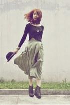 olive green skirt - black AsianVogue boots - black bowler hat