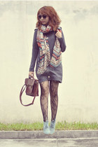 brown bag - sky blue So Fab boots - heather gray dress - black Topshop tights