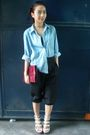 Blue-thrifted-shirt-black-thrifted-pants-beige-michael-antonio-shoes-red-v