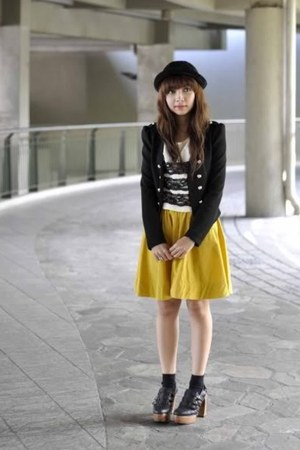 black thrifted blazer - mustard KOB skirt - Gold Dot clogs