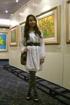thrifted dress - random belt - topshop floral leggings - SM Dept Store shoes - t
