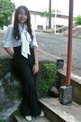 White-thrifted-blouse-black-mango-pants-black-mango-belt-white-thrifted-sh