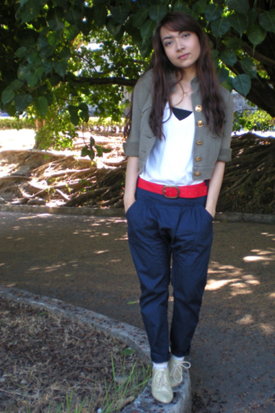 green EDC jacket - blue Mango pants - white Herbench t-shirt - red thrifted belt