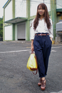 White-vintage-blouse-blue-vintage-pants-brown-thrifted-belt-brown-parisian