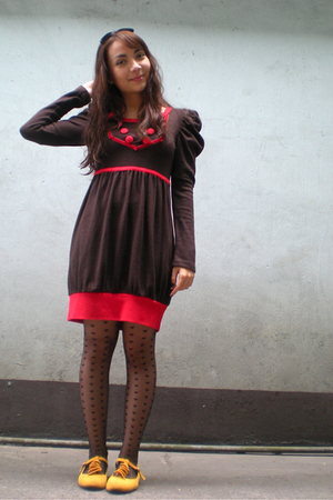 brown from beijing dress - black Topshop tights - yellow maldita shoes - black S