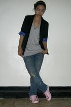 gray Herbench t-shirt - from hongkong jeans - black Topshop blazer - pink adidas