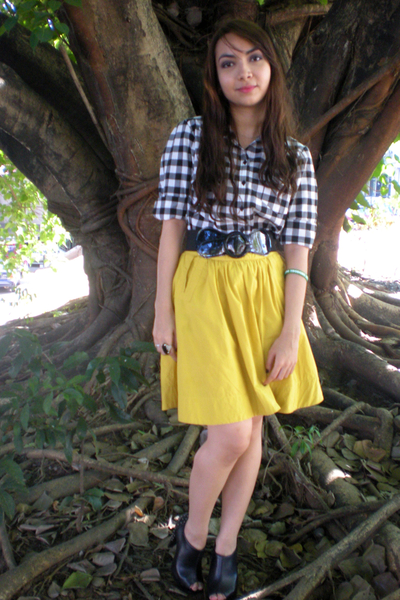 white Dorothy Perkins shirt - yellow KOB skirt - black Parisian shoes