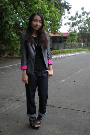 black random shirt - gray thrifted blazer - blue Bossini jeans - black Parisian