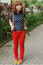 red Zara jeans - mustard shoes - navy shirt - brown bag