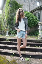 Aritzia blazer - Gap shirt - American Eagle shorts - Aldo sandals