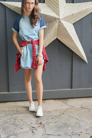denim shift Topshop dress - check flannel joe fresh style shirt