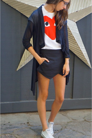basic skort Zara shorts - Comme des Garcons t-shirt - sheer Helmut Lang cardigan