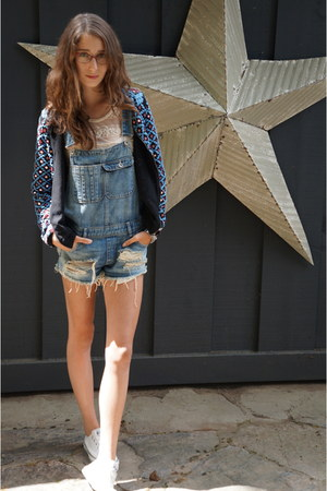 embroidered Zara jacket - denim overalls Zara romper - lace Zara top