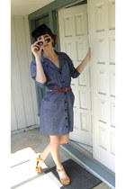 navy thrifted dress - camel Target wedges