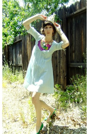 light blue thrifted dress - purple American Apparel dress - Forever 21 necklace