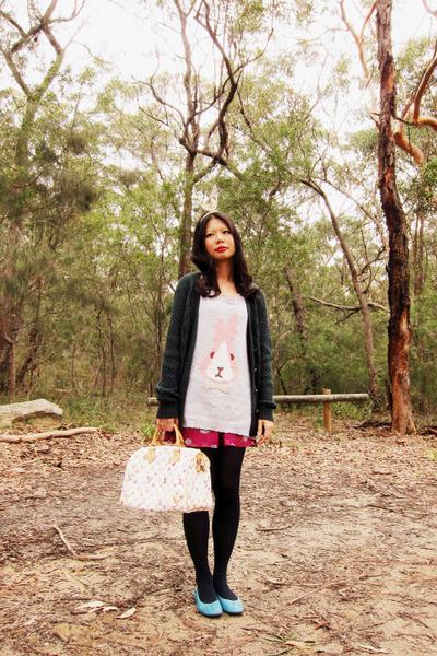 Louis Vuitton bag - Forever 21 skirt - Siren top - BDG cardigan - diva accessori