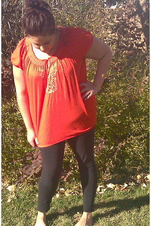 carrot orange embroidered thrifted vintage blouse - black deb leggings