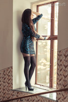 black Gatta tights - Bershka dress - black venezia heels