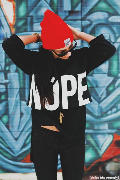 red Camp Brand Goods hat - Cinder&Sage necklace - black Jac Vanek hoodie