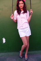 pink The Circus Act cardigan - white Shoe Mart shorts - silver CMG shoes - pink