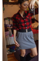 gray Forever 21 skirt - black boots - red shirt