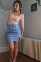 blue H&M skirt - white H&M shirt - pink delias pants - gray shirt - white cardig