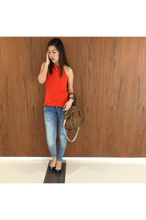 blue Pull & Bear jeans - red Promod top - navy Salvatore Ferragamo flats