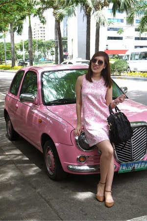 pink Pink Manila dress - brown Zara shoes