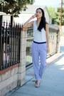 Blue-h-m-pants-ivory-silky-nordstrom-blouse-orange-zara-heels