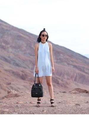 black backpack Steve Madden bag - light blue backless Tobi dress