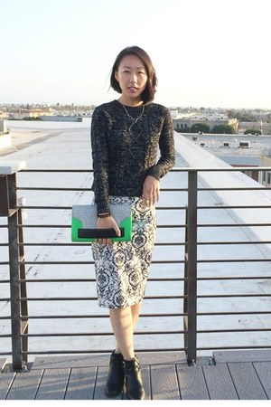 black metallic unknown sweater - green H&M purse - white printed unknown skirt