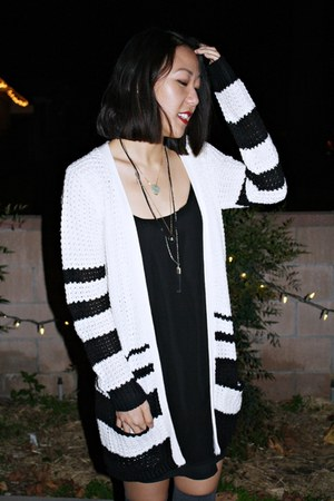 black Report shoes - black Urban Outfitters dress - white unknown cardigan