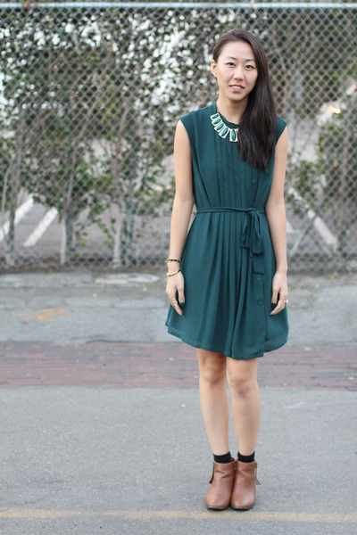 green gems Forever 21 necklace - burnt orange Ross boots - green unknown dress