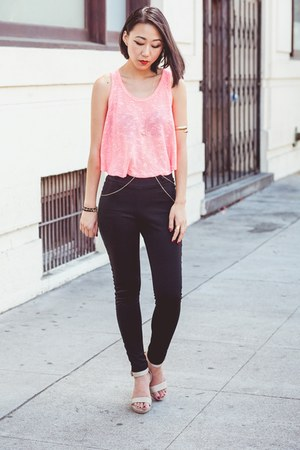 bubble gum neon knit Ross top - black scuba knit pants - eggshell heels