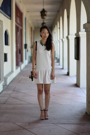 dark green gems H&M necklace - cream drop waist H&M dress