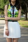 Green-floral-mesh-prabal-gurung-for-target-top-white-pleated-pink-basis-skirt