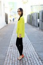 Yellow-choies-sweater-black-ray-ban-sunglasses-black-unknown-pants