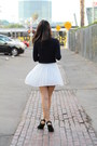 Navy-knit-unknown-sweater-white-pleated-unknown-skirt
