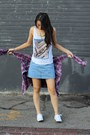 Blue-thrifted-vintage-skirt-white-unknown-shoes-purple-forever-21-top