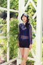 Black-f21-hat-black-pleather-f21-shorts-navy-hand-crochet-top