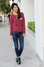 Black-report-shoes-blue-h-m-jeans-crimson-unknown-top