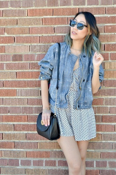blue denim jacket free people jacket - black purse - white v-neck romper