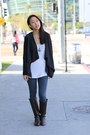 Dark-brown-knee-high-unknown-boots-blue-jeggings-unknown-leggings