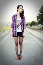 purple plaid flanel f21 top - white the beatles H&M top
