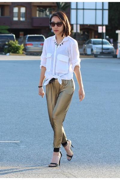 gold harem pants foreign exchange pants - black cotton on sunglasses
