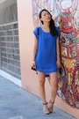 Blue-h-m-dress-black-studded-quilted-ross-purse-orange-zara-heels